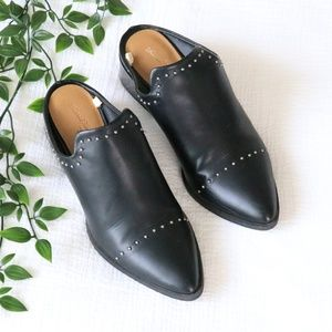 Crista Black Studded Pointed Toe Heeled Mules
